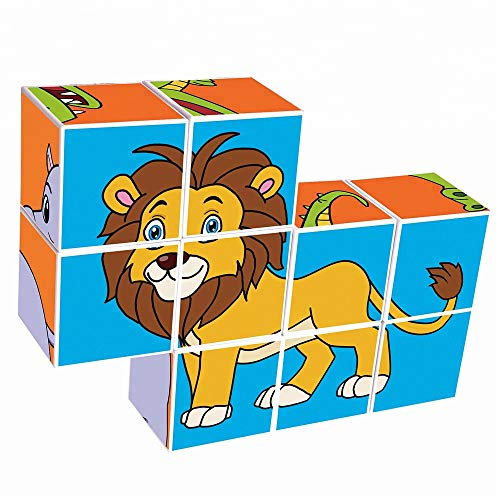 Agirlgle Magnetic Blocks 3D Puzzles for Kids Baby Toddlers Blocks Learning Educational Toys Magic Cube Jigsaw Puzzle Games Building Blocks Brain Teaser for Children Beginner Kids (9pcs Wild Animal)