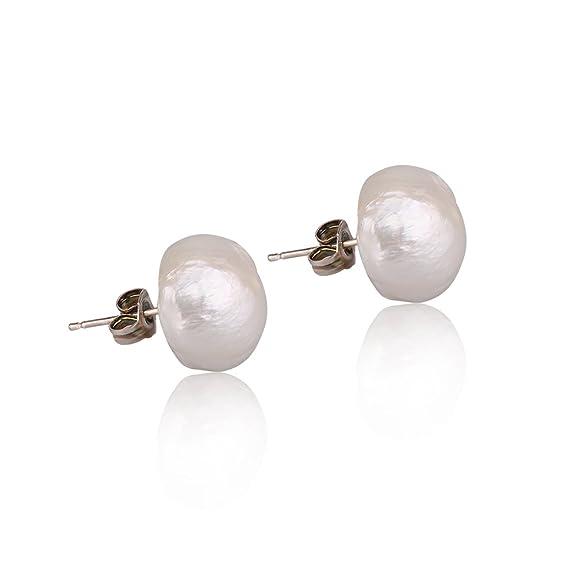 Amazon.com: Stacey grande irregular perla Stud arete | la ...