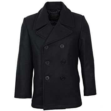52a8446dc22 Mil-Tec US Navy Pea Coat Black size XXL: Amazon.co.uk: Sports & Outdoors