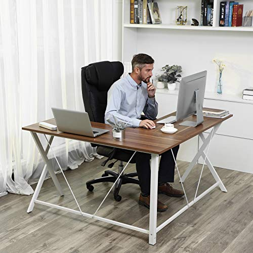 VASAGLE L-Shaped Computer Desk, Corner Office Writing Desk, Gaming Workstation, Sturdy Metal Frame, Easy Assembly, Tools and Instructions Included 57.1''x 51.1'' x 29.9'' ULWD70WH by VASAGLE (Image #2)