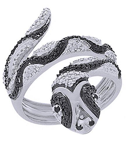 Gold Diamond Snake Ring - Jewel Zone US Black & White Natural Diamond Engagement and Wedding Accent Snake Ring in14k White Gold Over Sterling Silver (0.07 Cttw)