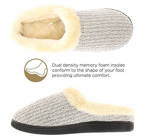 Image of Gold Toe Women's Verna Cable Sweater Knit Fur Lined Cuff Memory Foam Slip On Clog Slipper Grey L 9 US