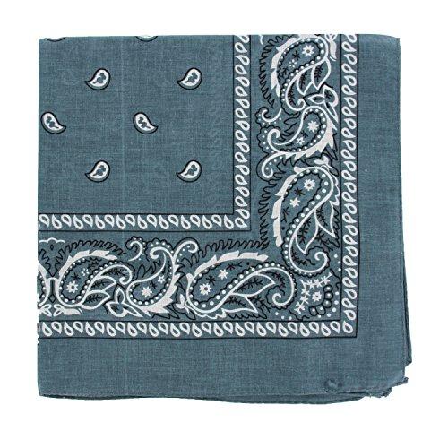 Classic Paisley Bandana (12PCS 100% Cotton Classic Paisley Bandana Head Wrap Scarf Handkerchief (Gray))