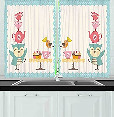 Bon Amazon.com: Ambesonne Kitchen Decor Collection, Owl At Tea Party Bird With  Lemon Cupcakes And Teacups Vintage Design Border Art, Window Treatments For  ...
