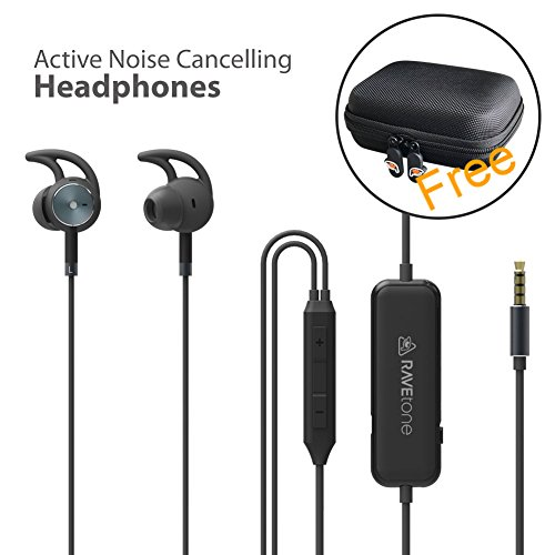 Active Noise Cancelling Earphones, RAVEtone Wired HD Stereo in Ear Headphone ANC Strong Bass Sports Earbuds with Built in MIC in-line Control Cable Headsets 15 Hours Playtime