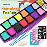 Telgoner Face Paint Kit For Kids, Professional Face Painting 40 Stencils, 14 Large Washable Paints, 2 Glitter, 3 Brushes, 3 Sponges, FDA Non Toxic Makeup Body Facepaints Supplies for Halloween Party