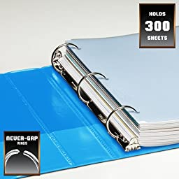 Wilson Jones Heavy Duty Round Ring View Binder with Extra Durable Hinge, 1.5 Inch, Customzable, Light Blue (W363-34-2925)