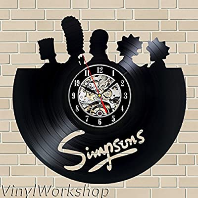 The Simpsons Vinilo Reloj De Pared 12 En 30 Cm Negro