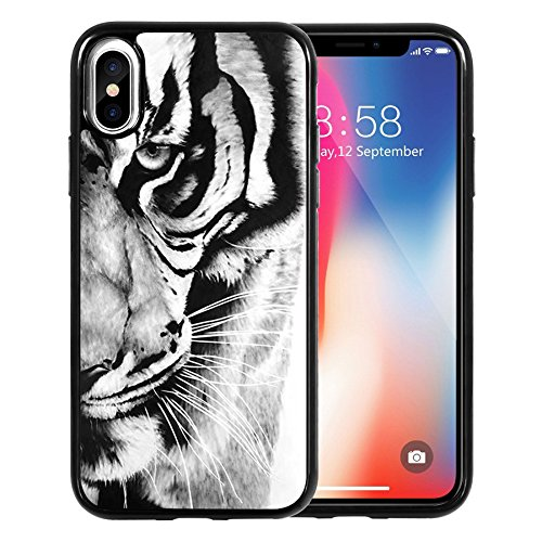 best website 2a82a 68a7b iPhone X Case, Retro black and white tiger pattern, DOO UC Laser Technology  for Protective Case for Apple iPhone X (2017)