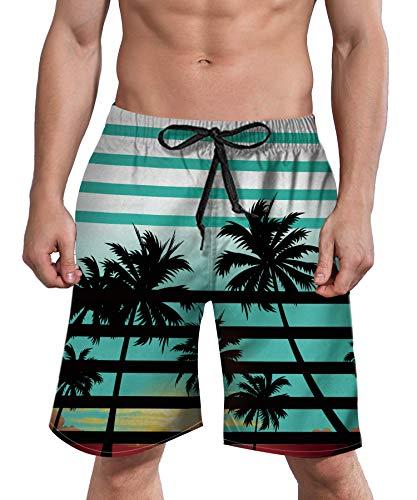 ALISISTER Mens Quick Dry Shorts Striped Swim Trunks Summer Holiday Boardshorts Quick Dry with Pocket Mesh Lining Medium