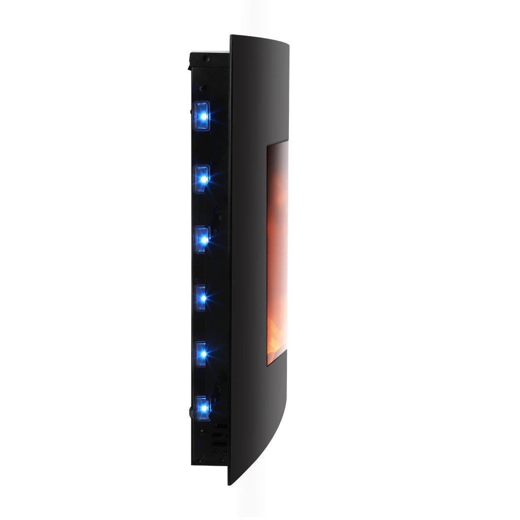 Finether-Chimenea Eléctrica de la Pared Estufa Eléctrica Calentador de 3D Llama (2000W, con Mando a Distancia, Temperatura Ajustable, ...