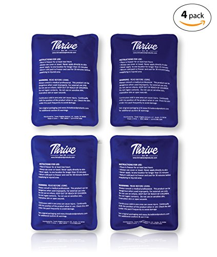 """Gel Ice Cold Compress - (4 Pack) - 4.7"""" X 7.5"""" - Reusable comfortable soft touch vinyl provides instant pain relief, rehabilitation and therapy from injuries - shoulder, upper / lower back, knee"""