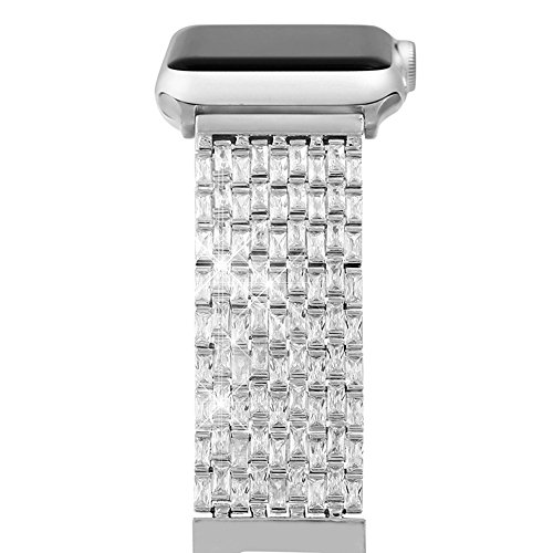 Apple Watch Bands for Women Girls, Cubic Zircon Replacement Strap for iWatch Series 1,2, 3 (42MM Silver)