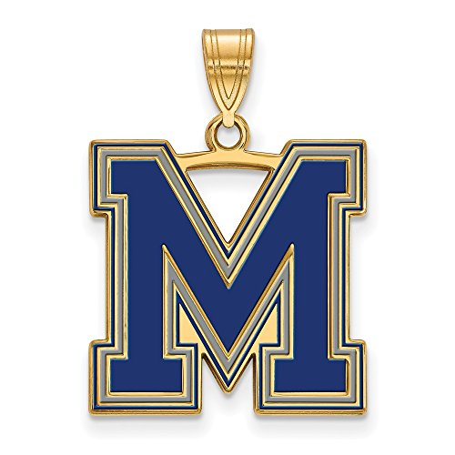 Sterling Silver w/ 14K Yellow Gold-Plated LogoArt Official Licensed Collegiate University of Memphis (UofM) Large Enamel Pendant by LogoArt