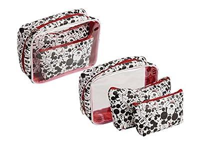 DISNEY Mickey Mouse figure 3 bag bath hanging travel pouch case set black & white