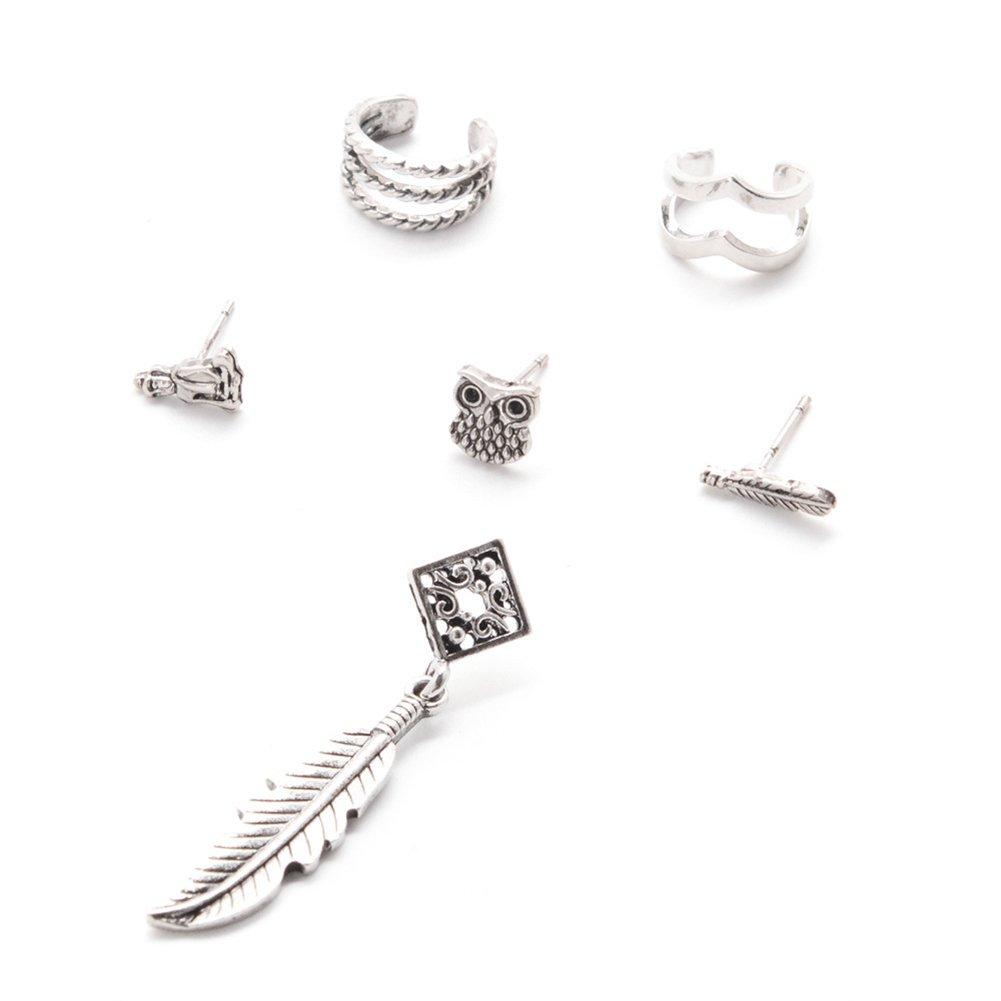 Silber Zedo 6 Satz Eule Ohrringe Set Boho Vintage Leaf Ohrring Mode Ohrclip Stud Dangle K/örperschmuck Silber 1