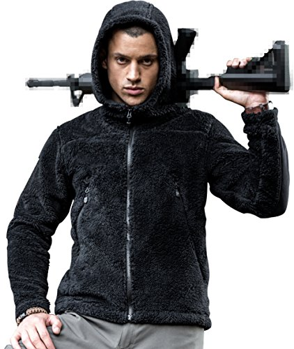 FREE SOLDIER Men Fall Winter Casual Plush Tactical Hoodie Sweatshirt Hunting Warm Coat Outfit Outwear (Black, (Soldiers Outfit)