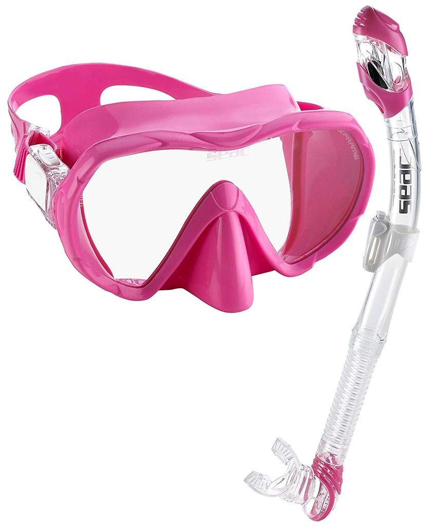 SEAC Frameless Snorkel Set for Men and Women | Comfortable Adjustable, Frameless Mask Made from Clear Tempered Glass | Dry Snorkel with Bottom Purge Valve | Snorkeling and Freediving Gear - Pink