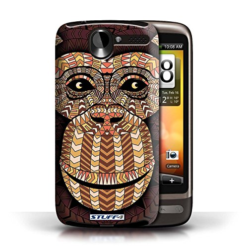Etui / Coque pour HTC Desire G7 / Singe-Orange conception / Collection de Motif Animaux Aztec