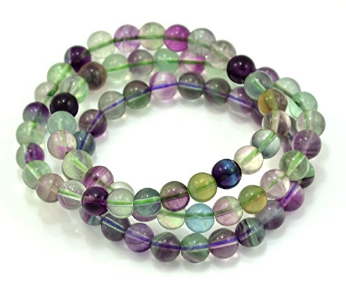 Paialco 8mm Fluorite Gemstone Stretch Beaded Bracelet, Pack of 3
