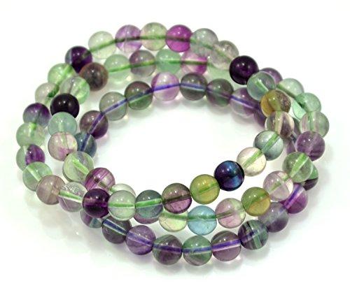 Fluorite Green Bracelet - Paialco 8mm Fluorite Gemstone Stretch Beaded Bracelet, Pack of 3