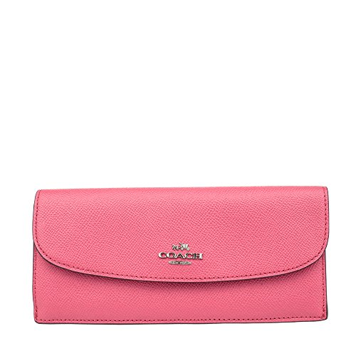 Coach Crossgrain Leather Wallet Strawberry