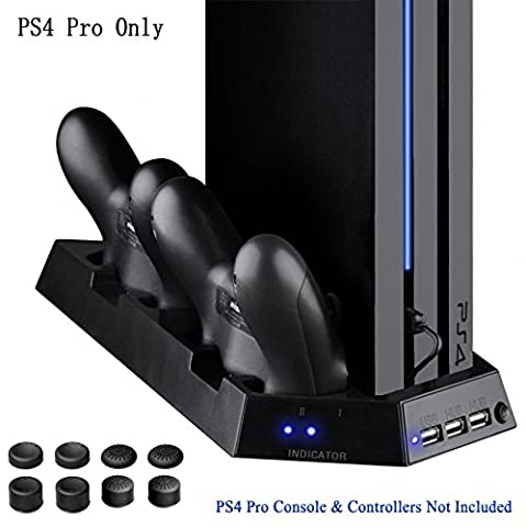 YOUSHARES PS4 Pro Controller Vertical Stand with Dual Cooling Fan, Controller Charging Station, 3 USB Port for Playstation 4 Console and PS4 DualShock 4 Controllers + 8 Controller Grip Cover - Vertical Stander
