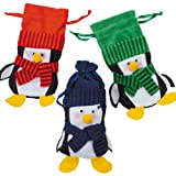 Felt Penguin Drawstring Winter Christmas Holiday Gift Bags (1 dz)
