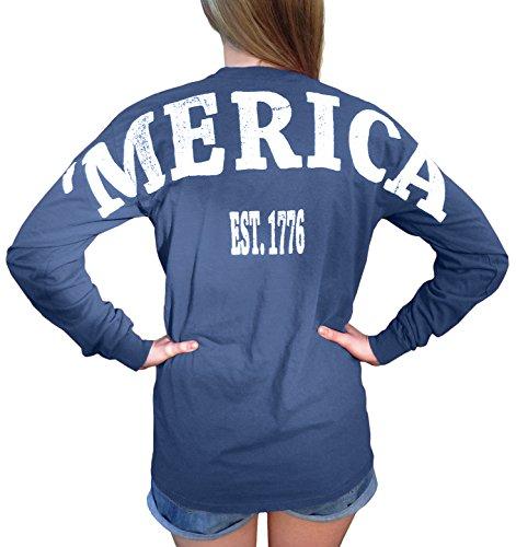 (Fashion Greek Merica Stadium Jersey USA Unisex Long Sleeve T Shirt with Front Pocket Blue)