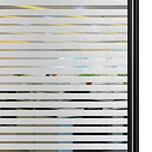 Qualsen Privacy Window Film Frosted Stripe Window Glass Films Non-Adhesive Static Cling Window Stickers for Meeting Room Home Office (23.6x118inch(60x300cm))