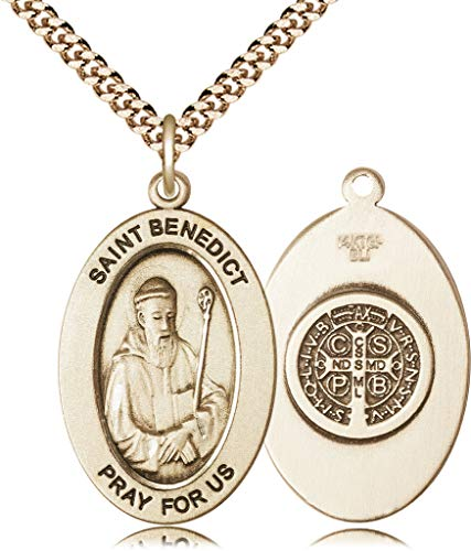 14kt Gold Filled St. Benedict Pendant, 24in Gold Plate Heavy Curb Chain Patron Saint Monks/Poison Sufferers 1 x 1/2 ()