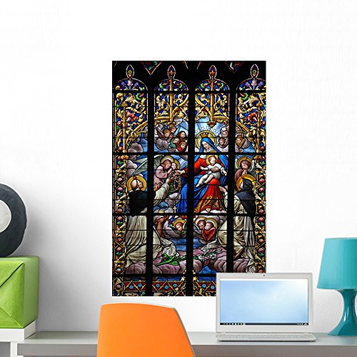 (Wallmonkeys Virgin Mary Stained Glass Wall Mural Peel and Stick Graphic (24 in H x 16 in W) WM255485)