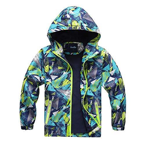 Jingle Bongala Kids' Boys' Girls' Outdoor Waterproof Fleece Jacket with Hood Coat Climbing Hiking Windbreaker-NavyGreen-150