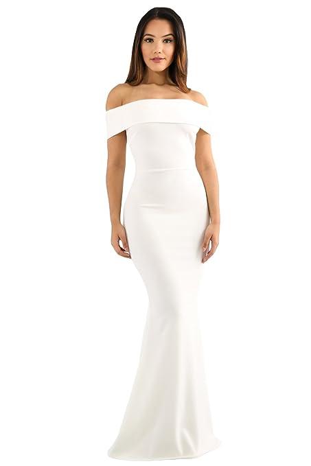 Vestido de noche para fiesta, vestido de noche, color blanco, talla L