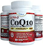 CoQ10 Ultra Absorption Patented Water and Fat Soluble Hydrosoluble - Best Ubiquinone Coenzyme Q10 100mg capsule 60 Day Supply Discount