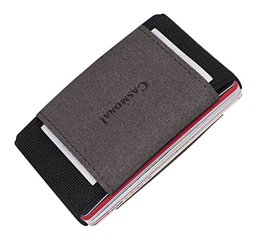 Casmonal Minimalist Slim Wallet With Elastic Front Pocket Card Holders And Cash(black & carbon gray) ()