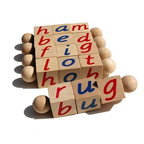 The Original Montessori Phonetic Reading Blocks - Educational Materials for the Beginning Reader Toddler 3 4 5 6 Year Old - Eco Friendly Wooden CVC Manipulative Toy for Kindergarten Language -