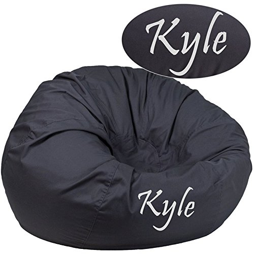 (Flash Furniture Personalized Oversized Solid Gray Bean Bag Chair)