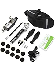 NACATIN Tyre Repair Kit,Puncture Repair Kits for Bikes,with 3 In 1 Fish Prying Pod,16-in-1 Bicycle Repair Tool, Mini Bike Pump with High Pressure Gauge 210 PSI,Pre-Glued Patches for Puncture Issue