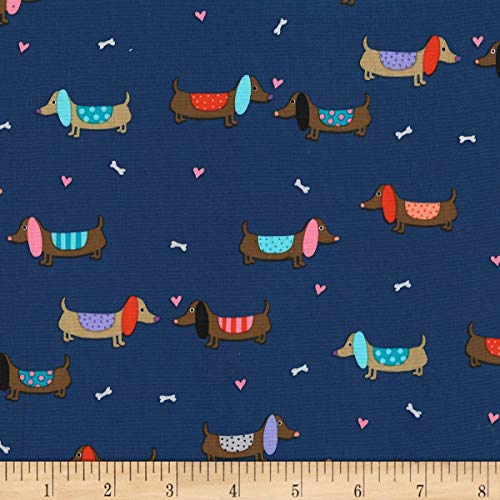 - Michael Miller Paw Prints ASPCA Puppy Love Fabric, Denim, Fabric By The Yard