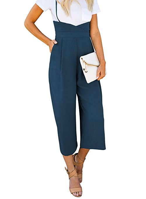 7fbb6d7df15 Amazon.com  BELONGSCI Women 2 Pieces Outfits Suit Sweet   Cute T-Shirt Top  + Strapless Gallus Wide Leg Jumpsuit Pocketed Ankle Overalls  Clothing