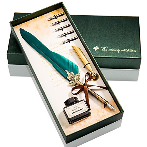 Feather Pen Glodeals Feather Quill Pen Antique Dip Feather Pen Set (Green)