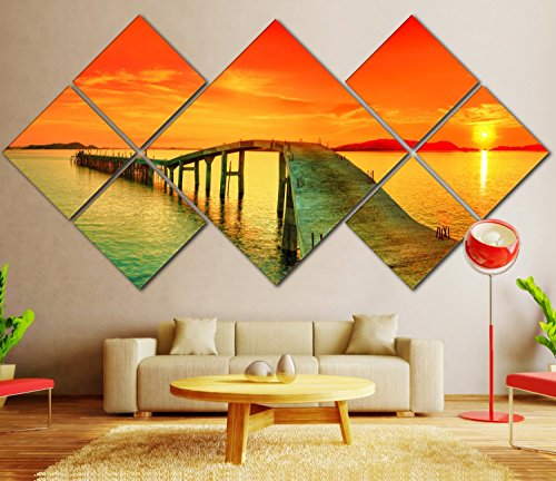 Modern Wall Art Painting Framed, Home Decorations Multi Panels Paintings on Canvas Sunset Ocean Posters Pictures Printed Wall Art Painting for Living Room Stretched, 34''Wx68''L