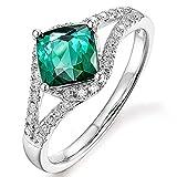 Rare Natural Blue Green Tourmaline Gemstone Diamond 14K White Gold Wedding Engagement Fashion Ring for Women