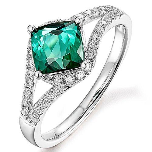 (Rare Natural Blue Green Tourmaline Gemstone Diamond 14K White Gold Wedding Engagement Fashion Ring for Women)