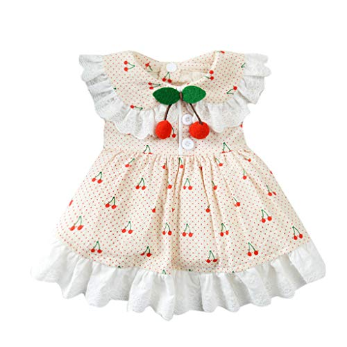 Cherry Dog Dress - vmree Spring and Summer Dog Apparel, Puppy Cherry Print Dress Pet Breathable Clothes Lace Skirt for Small Dog Cat