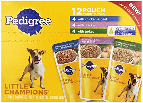 Pedigree Little Champions Dog Food, Poultry and Beef Variety Pack, 12 Pouches, 5.3 oz each (Pedigree Dog Food Pouches compare prices)