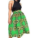 BYY African Print A-line Pleated Midi Skirt
