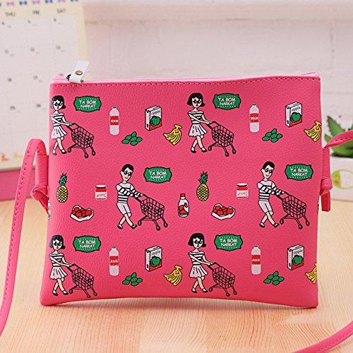 Vin beauty wlgreatsp pintada de la historieta cuero de la PU Bolsa de hombro Bolsas de mensajero bolso de embrague Rosa Roja