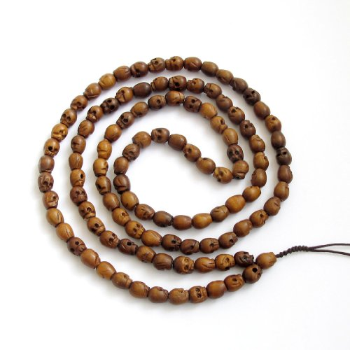 OVALBUY 108 Wood Skull Beads Tibetan Buddhist Prayer Meditation Mala Necklace
